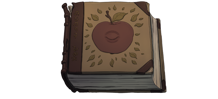 A book with an apple with an eye.